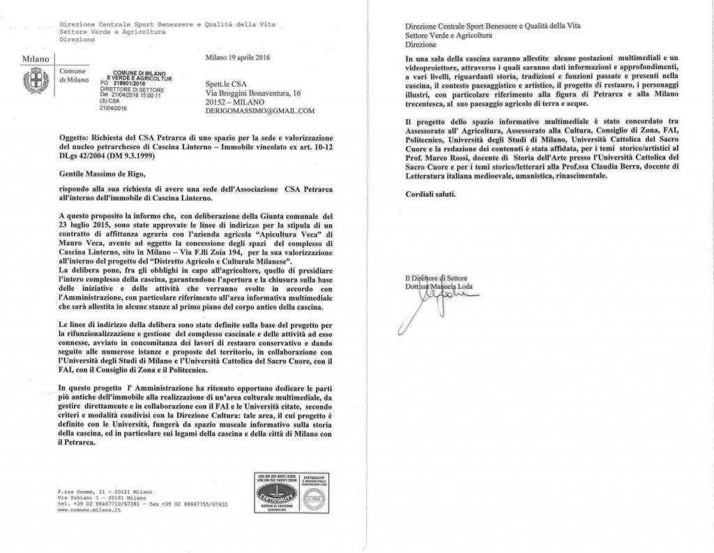 6a. Lettera Assessore Agricoltura Comune di Milano